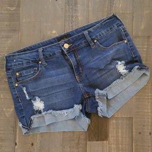 Medium wash Jean Distressed Shorts